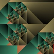 Optical_art_cubist_fractal_one_green_and_caqui_card