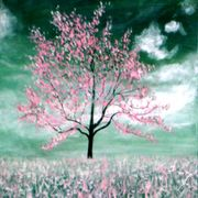 Cher_and_kitten_painting_mystic_pink_tree_greens_015_card