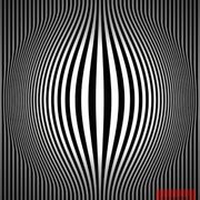 Op_art_bulging_vertical_stripes_black_and_white_two_card