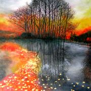 Fall_sunset_by_the_lake_orange_card