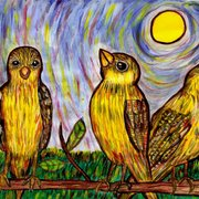 Three_goldfinches_in_the_sun_card