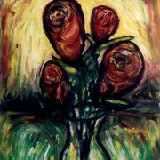 Forur_roses_in_a_glass_vase_card
