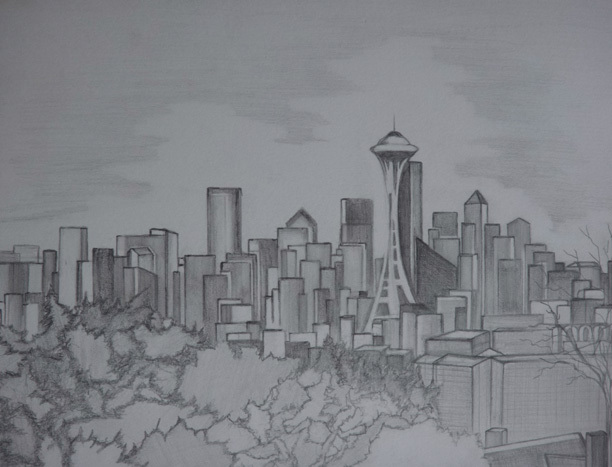 Seattle Skyline Drawing Drawing of Seattle Skyline