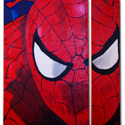 Spiderman_split-2009-acrylic_on_canvas_card