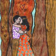 Lovers_trees_orange_dress_card