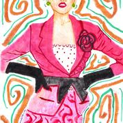 Woman_pink_vest_black_bow_card