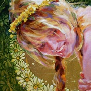 Oksana_zhelisko_daisy_oil__gold_leave_on_canvas_12__x16___card
