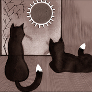 Two-cats-black-and-white_card