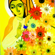 The_virgin_in_the_sunflower_wih_the_blue_butterfly_inset_1__card