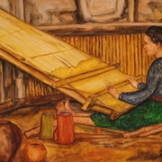 Antonio_cayanan-moro_girl_weaving_2012_watercolor_on_board_14_x_17_inches_card