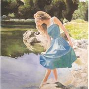 Testing_the_waters_woman_art_lake_river_samuel_worley_card