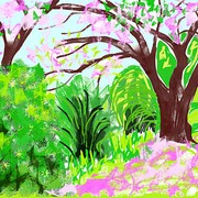 Arisebbbpink_tree_by_the_lake_3pink_tree_by_the_lake_3_card