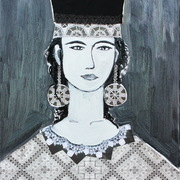 Cypriot_woman__traditional_lefkara_lace_motives__50_x_60_cm__oil_on_canvas__mixed_media__collage__2011_card