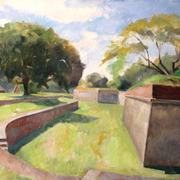 Dry_moat__fort_jay__governor_s_island__36_x_44_inches__oil_on_linen_card