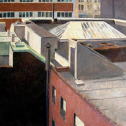 Trimble_lane_roofs__36_x_62_inches__oil_on_linen_card