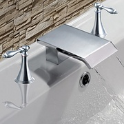 Chrome_finish_solid_brass_two_handle_waterfall_bathroom_sink_faucet_card