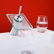 Chrome_finish_waterfall_bathroom_sink_faucet_with_glass_spout_card