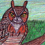 A_great_horned_owl_in_a_tree_card