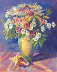Bouquet with Conch Shell by Blossoming Stillness by Ruth Moses