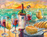 Opus One Sunset by Fine Wine Paintings by Ruth Moses