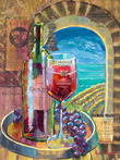 Cain Five with Arch Window Overlooking Vineyard by Fine Wine Paintings by Ruth Moses