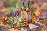 Diamond Creek and Opus One Magnums on the Veranda by Fine Wine Paintings by Ruth Moses