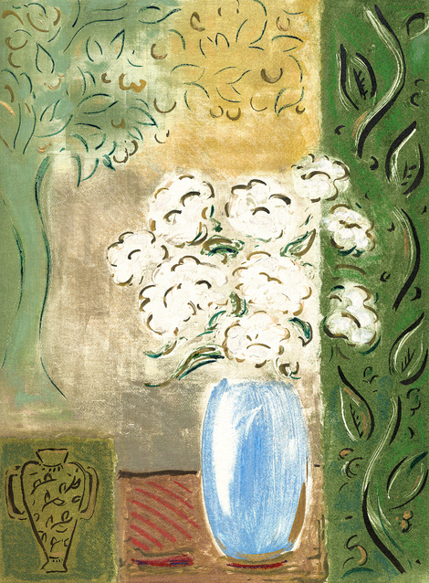 White Flowers in Blue Vase