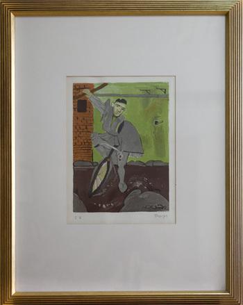 Tsolias on bicycle