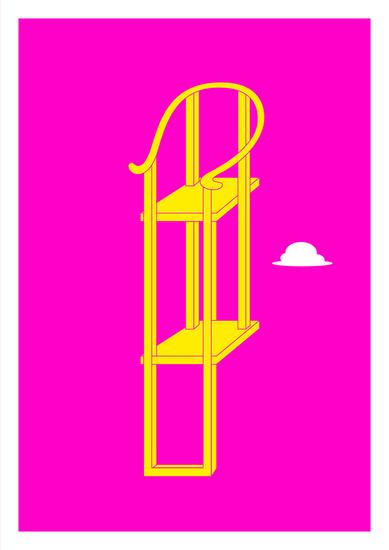 椅子 (Chair) - Pink & Yellow