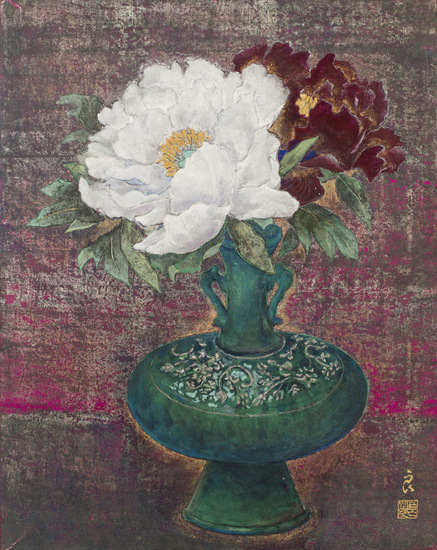 Peony in Green Vase
