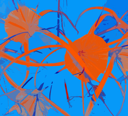 DANCING FLOWERS, (ORANGE - LIGHT BLUE), 120 X 160 CM