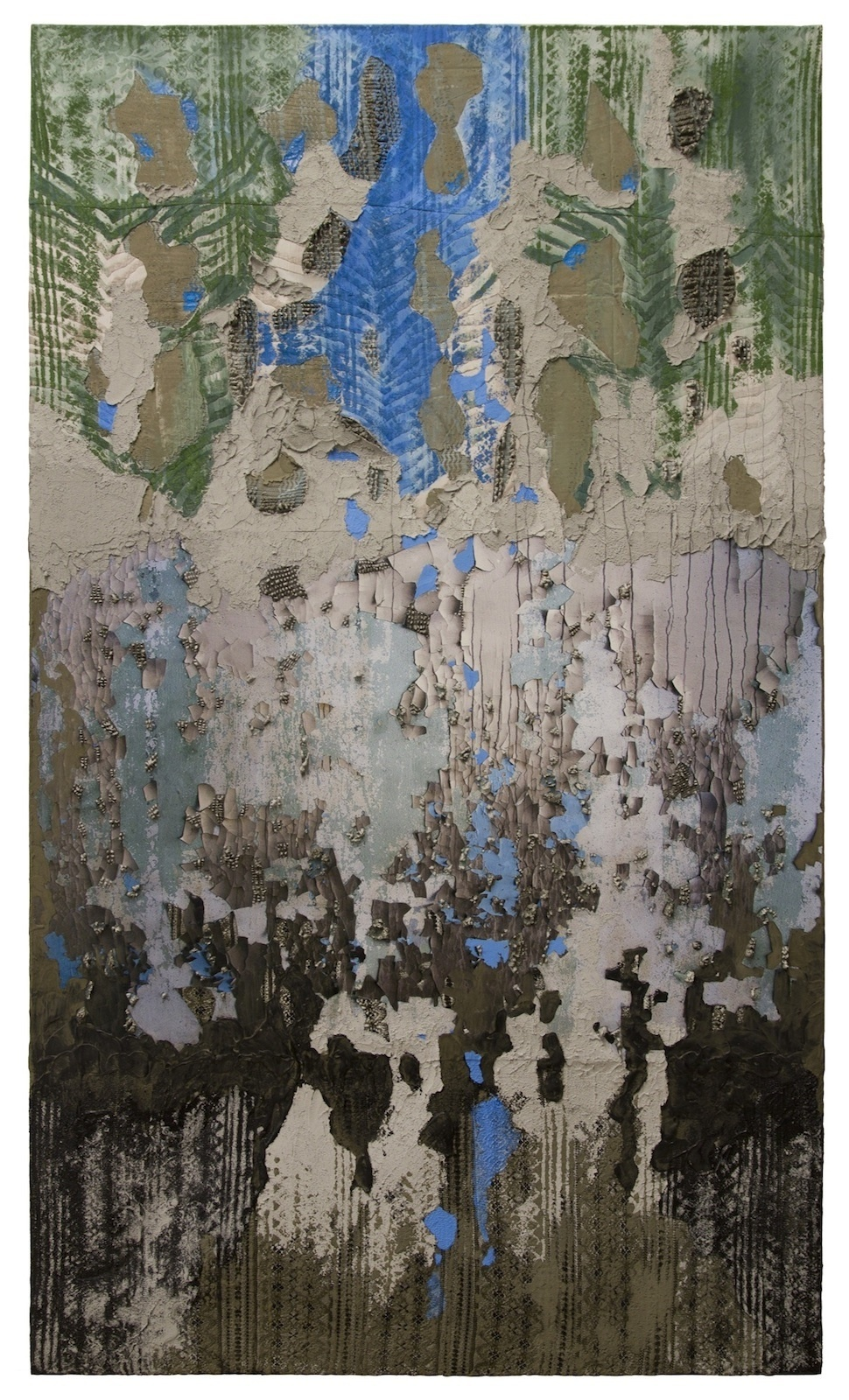 Naomi safran hon memory in 4 layers 2016 acrylic oil  tar  lace fabric and cement on canvas  72 x 42 in