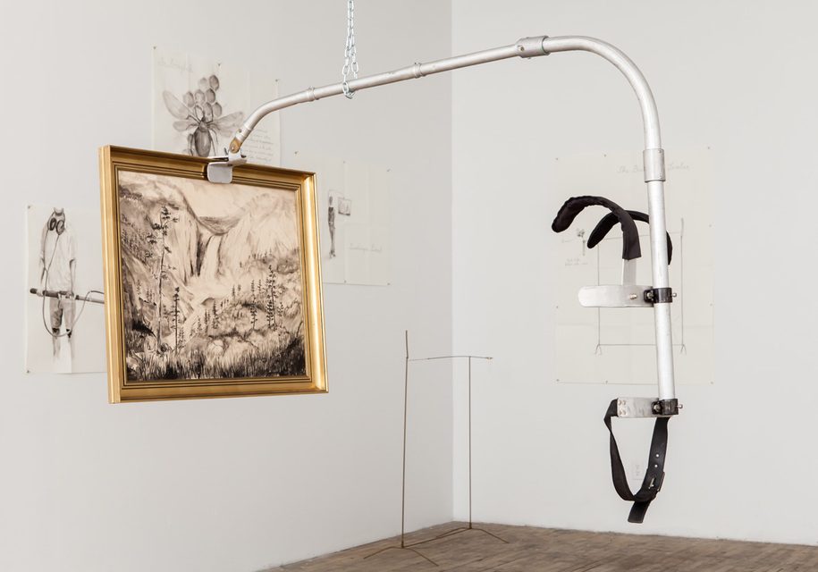155x85x90cm, Aluminum, brass, belt, rucksack straps, landscape drawing in gold frame