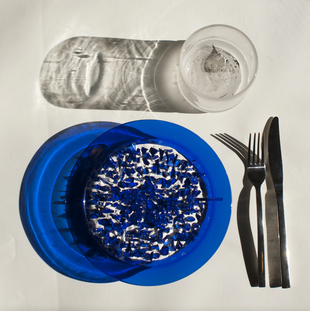 4 dinner setting blue plate 14x14inch glass  cement  metal