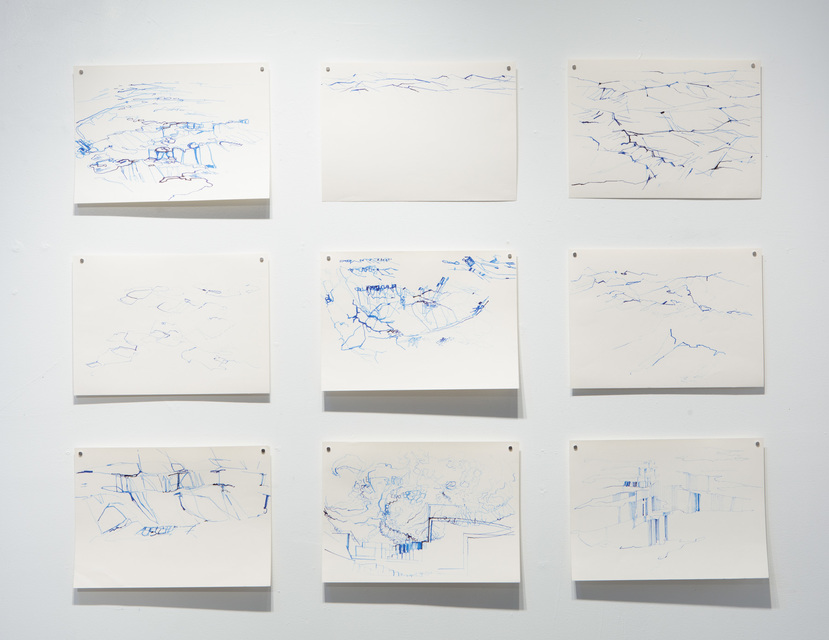 2009, blue ink on paper, 30 x 42 cm each