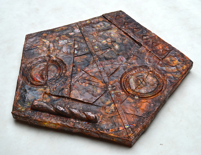 2017, hand carved wood and hammered copper plates, 38 × 38 × 2 in