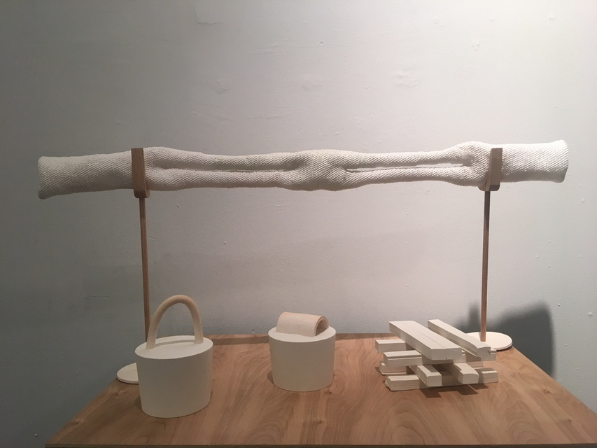 Table with buckets, 2017, plywood, pine, plaster, porcelain, white stoneware, oak, polyester mason line.