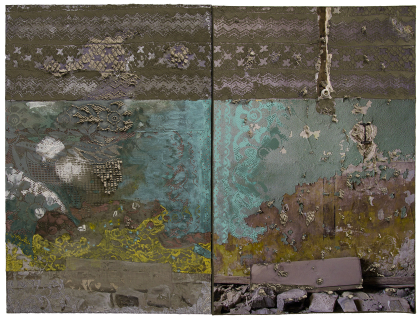 The Islands on My Wall 38.5 x 51 inches, acrylic, gouache, lace, archival ink jet print and cement on canvas, 2017