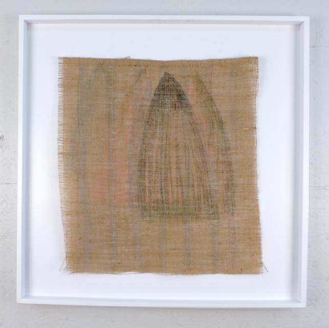 "Shroud for Irina 2017 neocolor on burlap 30"" x 30"""