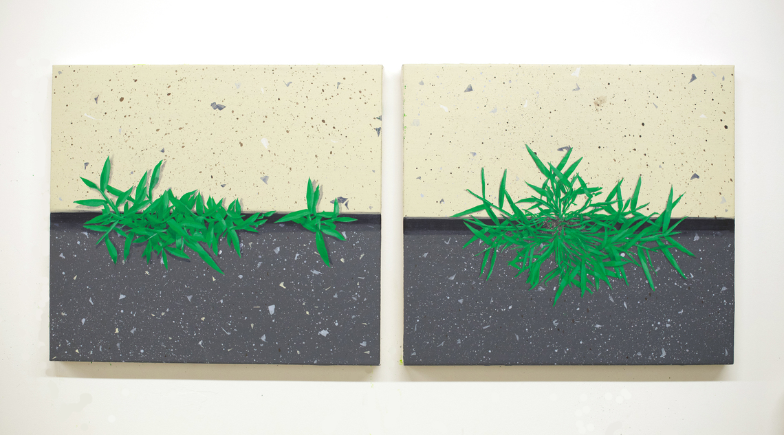 "Crabgrass #1 and Crabgrass #2, 2017, acrylic on canvas, each 18"" x 20"""
