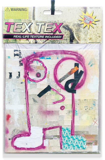 "Tex Tex, 2017, 40""x60"" Mixed media including silkscreen scraps, pastel, oil, acrylic paint, Conté crayon on insulation board, encased in polystyrene plastic, with archival inkjet print and armature wire with conduit pipe. In verso: inkjet print on foam board."