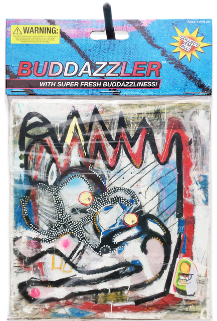 "Buddazler, 2017, 40"" x 60"" Mixed media comprised of oil, acrylic, pastel, pencil, paper scraps, canvas on insulation board, encased in polystyrene plastic, with archival inkjet print and armature wire and conduit pipe. In verso: inkjet print on foam board."