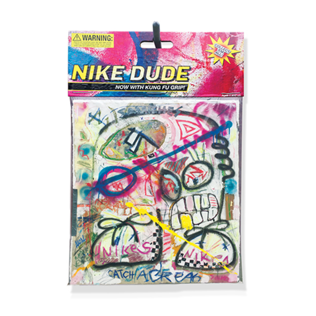 "Nike Dude, 2016, 40x60"" Mixed media comprised of spray paint, acrylic, pastel, on insulation board encased in polystyrene plastic, with archival inkjet print and armature wire with conduit pipe. In verso: inkjet print on foam board."
