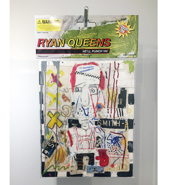 "Ryan Queens, 2018, 40"" x 60"" Mixed media comprised of pastels and oil paint on canvas on insulation board encased in polystyrene plastic, with  archival inkjet print and armature wire with conduit pipe. In verso: inkjet print on foam board."