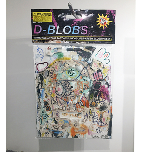 "D-Blobs, 2018, 40"" x 60"". 2018 Mixed media comprised of pastels and oil paint on canvas on insulation board encased in polystyrene plastic, with  archival inkjet print and armature wire with conduit pipe. In verso: inkjet print on foam board."