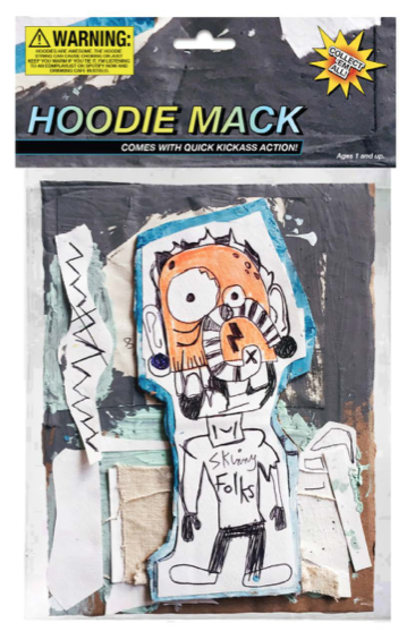 "Hoodie Mack, 2018, 6.5"" x 10, mixed media on cardboard encased in polystyrene plastic, with archival inkjet print / verso: inkjet print on foam board."