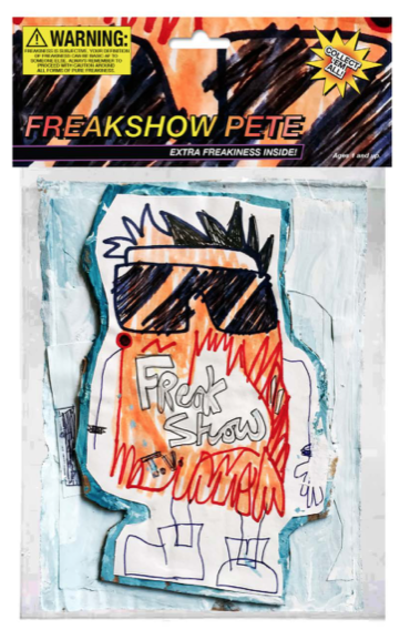 "Freakshow Pete, 2018, 6.5 x 10"", mixed media on cardboard encased in polystyrene plastic, with archival inkjet print / verso: inkjet print on foam board."