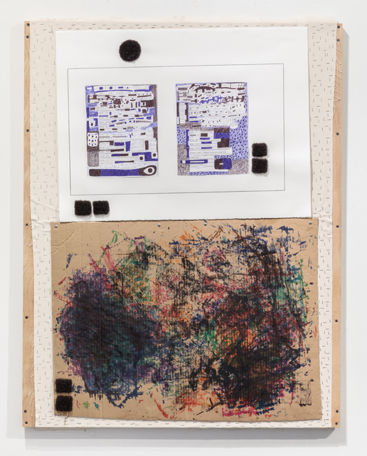 50 x 38 x 2''; Artist's Hair, Pencil, Pen, Charcoal, Markers, Staples, Screws, Glue, Paper; 2017