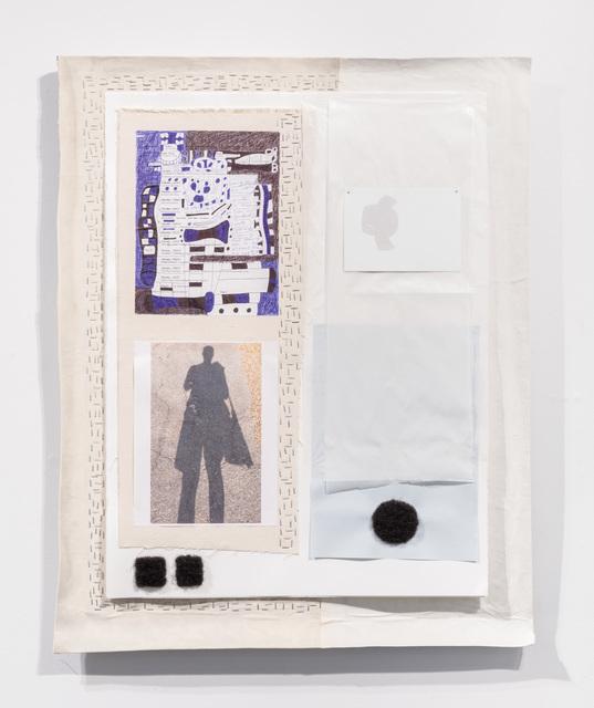 36 x 28 1/2 x 2''; Paper, Photograph, Artist's Hair, Wire, Silver Point, Staples, Nails, Glassine, Pen, Pencil, Canvas, Glue; 2017