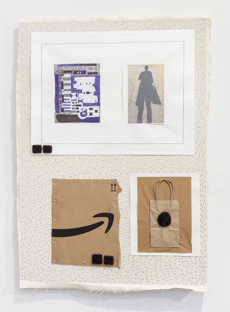 "51 x 35 ½ x 2"", Canvas, Staples, Paper, Artist's Hair, Photograph, Pen, Cardboard, Screws, Pencil, Paper bag, Glue, 2017"
